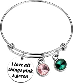 BAUNA Sorority Bracelet I Love All Things Pink and Green Alpha Kappa Alpha Paraphernalia Gift