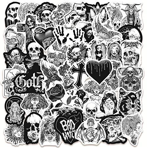BUCUO Serie en Blanco y Negro Punk gótico Esqueleto Graffiti Pegatinas Equipaje portátil Vinilo Pegatinas Impermeables 50 Uds