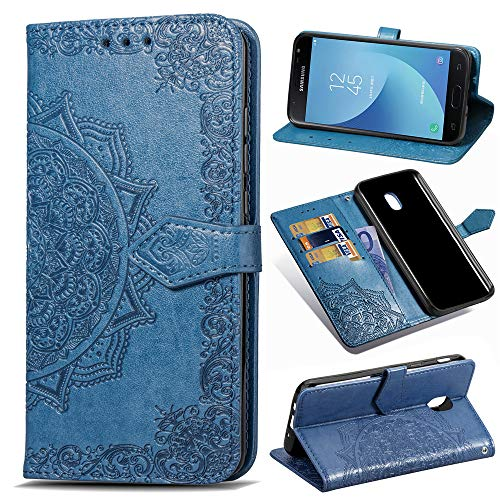 Galaxy J7 Refine Case,J7 V 2018,J7 Top,J7 Crown,J7 Aero,J7 Aura,J7 Eon,J7 Star Case,PU Leather Wallet Embossed Mandala Floral Flowers Kickstand Flip Cover Card Holder for Galaxy J7 2018 Blue
