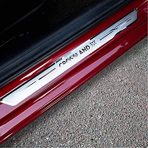 ZHAOXQ 4Pcs Protectores De Umbral De La Puerta del Coche De Acero Inoxidable para Vauxhall Opel Crossland X 2017-2020, Juego De Listones De Umbral Placas Protectoras Accesorios