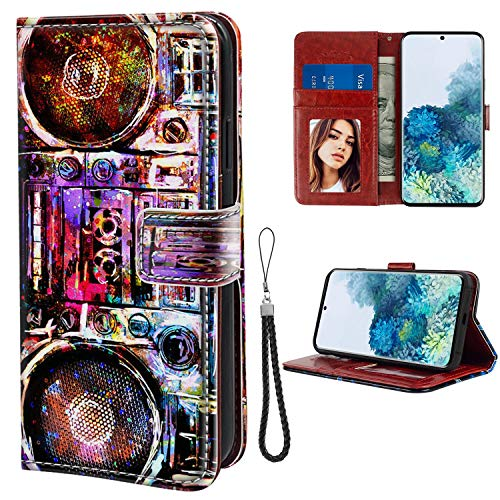 Wallet Case Compatible for Samsung Galaxy S20 (2020) 6.2-Inch Boombox Cassette Tape Recorder Folio