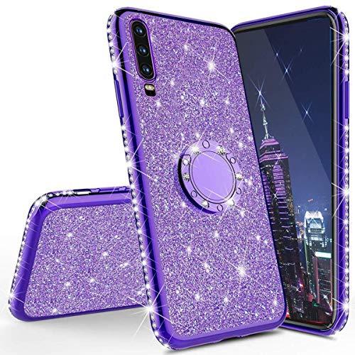 Glitzer Silikon Hulle fur Huawei Y6 2019 Uberzug TPU Bling Glitzer Strass Diamant Schutzhulle mit 360 Grad Ring Stander Flex Silikon Case Cover Etui Handyhulle fur Huawei Y6 2019Plating TPU Purple
