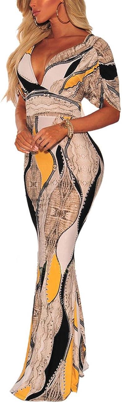 Women's Sexy Long Maxi Ranking TOP3 Dresses Tropical Neck V Len Quality inspection Bodycon Floor