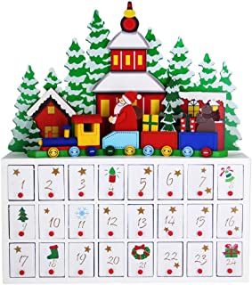 MorTime 24 Day Advent Calendar Premium Christmas Décor   Painted Characters   100% Wood Construction   Cute Holiday Decoration   Measures (Large)