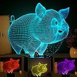 3D abstract Lampe de chevet 7 couleurs changeantes Touch Control LED Bureau Table Veilleuse avec USB Powered pour enfants Famille Feria Décoration Saint Valentin Cadeau