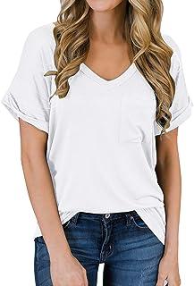 Yidarton Women's Short Sleeve T Shirts V Neck Tunic Tops Loose Tees Front Pocket