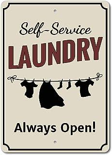 CHUNZO Clothes Line Laundry Always Open Affiche de Fer Plaque de Porte Signe Métal Panneau Étain Enseignes Aluminium d'ave...