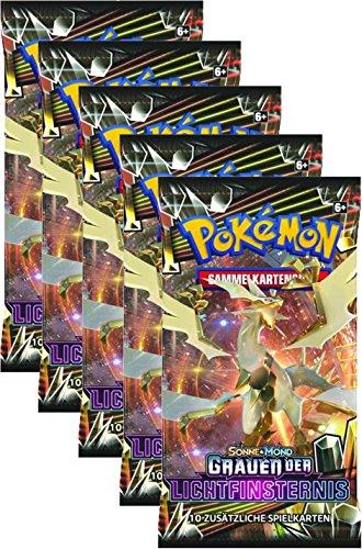 Pokémon Sonne und Mond Serie 6 - Grauen der Lichtfinsternis - 5 Booster Packs - deutsch