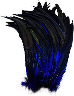 CENFRY Nature Rooster Coque Tails Feathers Costume Craft Decoration 12-14inch Pack of 10 (Navy Blue)