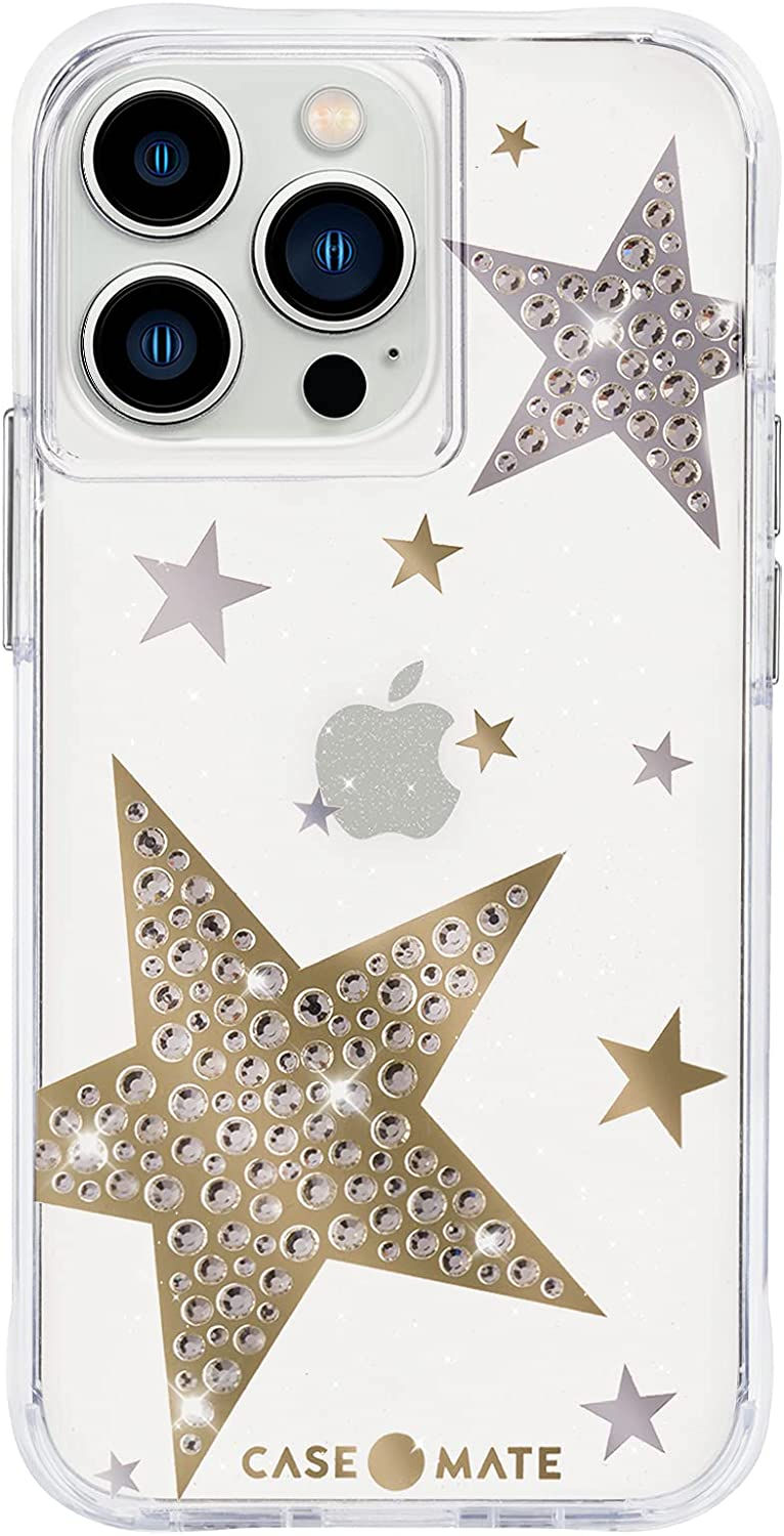Case-Mate - Sheer Superstar - Case for iPhone 13 Pro Max - Rhinestone Stars - 10 ft Drop Protection - Sheer Superstar