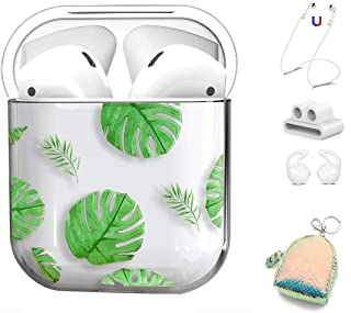 AirPods Case Cover 5 in 1 for Apple AirPods 2 & 1, Cute Clear Full Protective Hard Cute Cases for Girls Floral Print for Apple Airpods 1 & 2 - Flamingo (Banana Leaf)