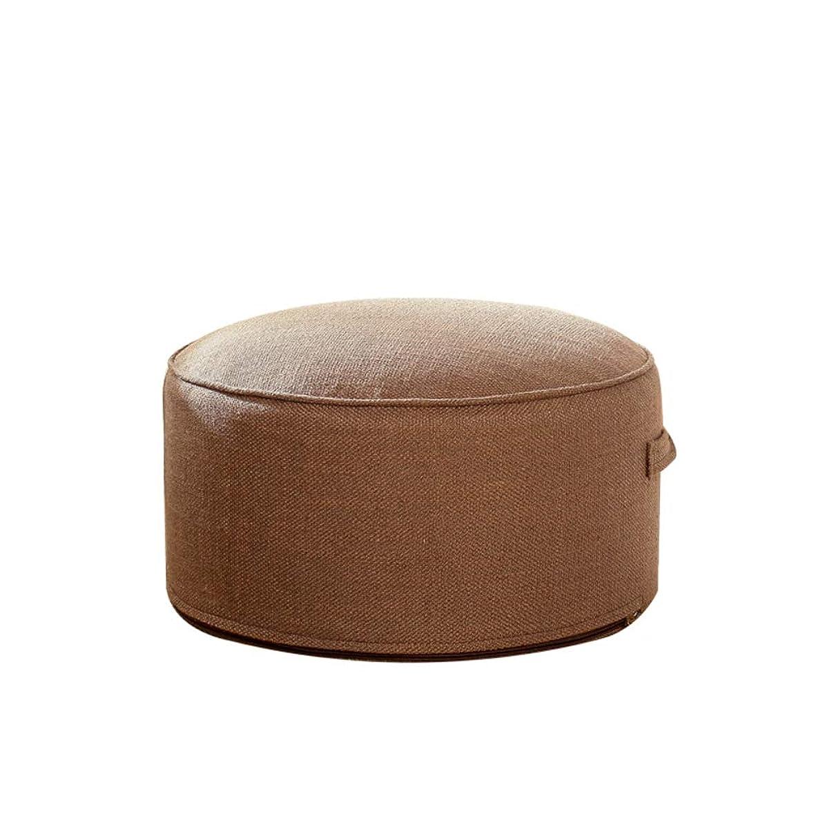 風変わりな探検議論するコットン ? リネン 厚く イス用シートクッション, 座布団, 日本語 ラウンド なよなよした男 便, パッド 床枕 マット布団 マットマット 洗える ホーム-ブラウン 直径:38cm