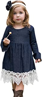 Toddler Baby Girl Denim Flare Sleeve Dress Lace Splice Sundress Clothes