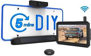 Solar Wireless Backup Camera Kit, 5 Mins DIY Installation, 5-inch Monitor and HD Image Rear View Camera for Cars and Mediu...