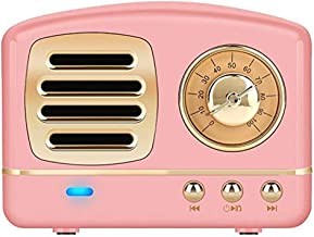 Portable Bluetooth Retro Speaker,BOOMER VIVI Wireless Mini Vintage Speaker with Rich Bass,Stereo, Hands-Free Call,Built-in Mic for Travel, Home,Outdoors (Pink)