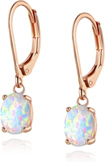 Opal Leveback Earrings Dangle White Rose Gold Plated for Women Girls Hypoallergenic 6x8mm
