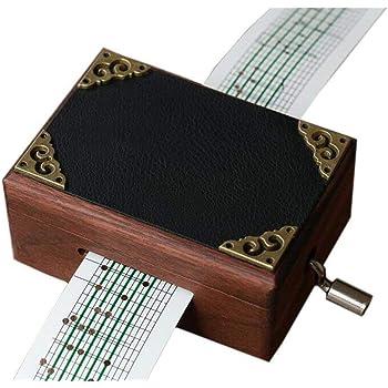 cuzit antiguo vintage de madera espejo caja de música caja Musical de manivela 15 Nota movimiento