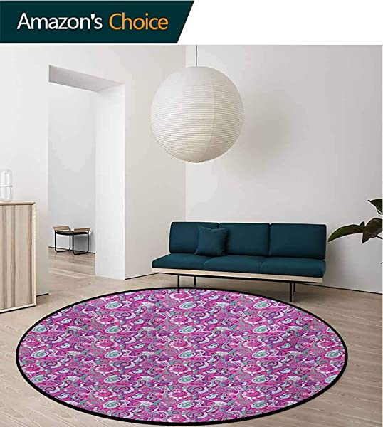 Abstract Modern Machine Washable Round Bath Mat Spiral Structure Pattern With Curves And Swirls Surreal Inspirations Non Slip Soft Floor Mat Home Decor Diameter 35 Inch Sea Green Magenta Purple