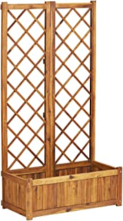 vidaXL Solid Acacia Wood Raised Bed with Trellis Weather Resistant Standing Planter Planter Patio Decoration