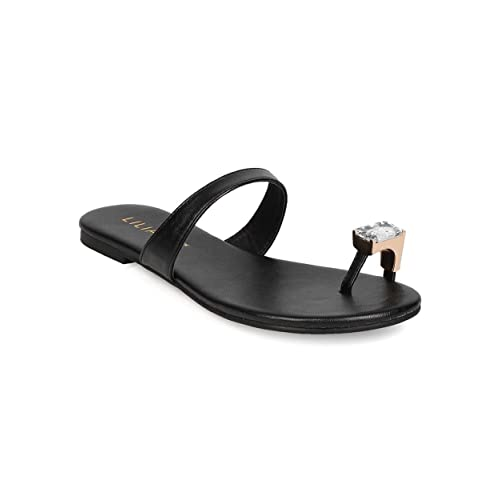 e704c042b773 Liliana Women Leatherette Toe Ring Flat Sandal EH70 - Black