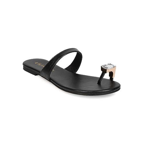 fd1b64ca5158 Liliana Women Leatherette Toe Ring Flat Sandal EH70 - Black