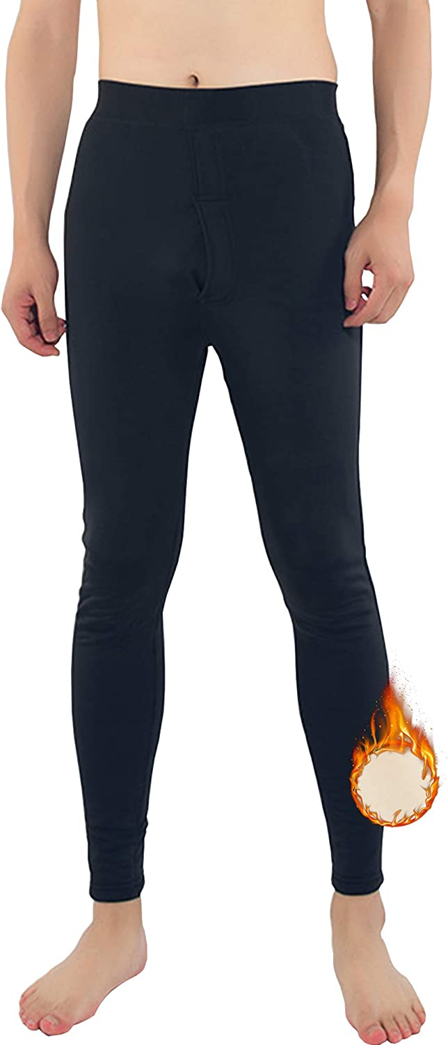 Hixiaohe Men's Winter Heavyweight Thermal Underwear Pants Fleece Lined Stretchy Baswlayer Bottom
