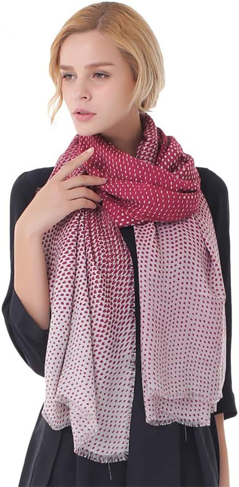 Xyuluy Women's Polyester Scarf, Fashion Gradient Color Dot Pattern Multi-Function Warm Shawl, 180100CM,Red