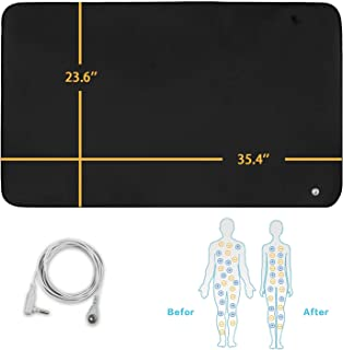 Alfredx Grounding Mat Universal Earthing with Cord Grounded Sleeping Therapy/Foot Therapy,Earthing Yoga Mat Protection, Reduce Inflammation, Sleep Assist,Balance Blood Circulation 35.4'' x 23.6''