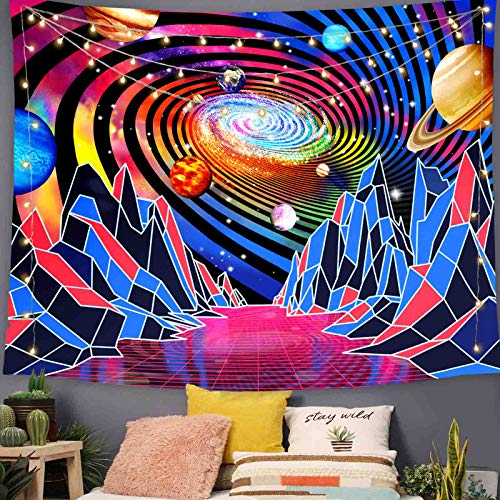 Kanuyee Trippy Mountain Tapestry Hippie Tornado Waves Tapestry Planet Retro Abstract Space Landscape Tapestry Psychedelic Galaxy Stars Tapestry Wall Hanging for Living Room Dorm Decor (50' x 60')