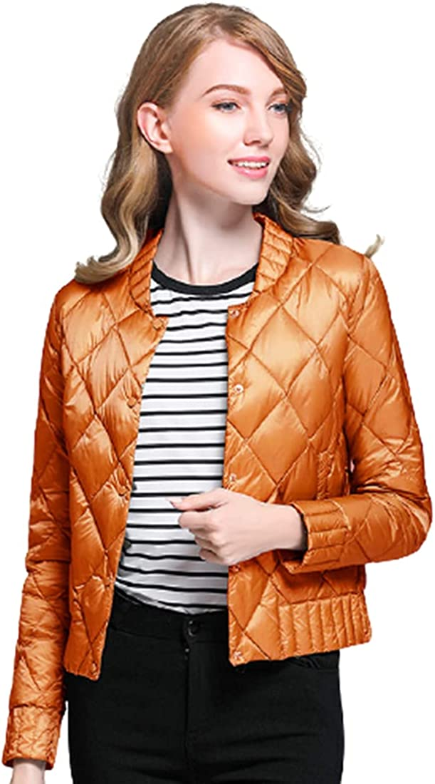 utcoco Women's Winter Lightweight Slim Fit Packable Short Down Jackets Single Breasted Quilted Cropped Puffer Coats