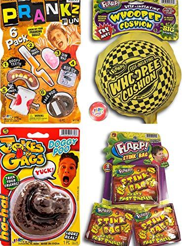 FLARP Kit Set of 10 Prank Games. Self Inflating Whoopee Cushion, Fake Dog Poop, Flarp Prank Kit, Stink Bags and Bouncy Ball. 44-327-1379-6416p