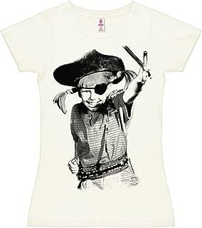 Camiseta para Mujer Pippi Calzaslargas - Pirata - Pippi Långstrump - Pirate - de Color - Blanco Antiguo - Diseño Original con Licencia
