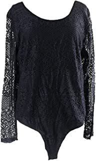 Eyeshadow Trendy Plus Size Lace Bodysuit, 2X, Black