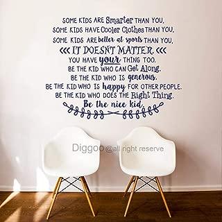 Diggoo Be The Nice Kid Wall Decal Playroom Rules Wall Quotes for School Classroom Kids Room Playroom Decor (Dark Blue,38.5