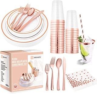 SIRSIMON 250 Piece Disposable Rose Gold Plastic Tableware Set - 50 Rose Gold Plastic Plates - 25 Rose Gold Plastic Silverw...