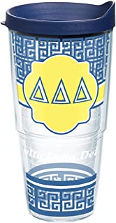 Tervis 1172668 Sorority - Delta Delta Delta Geometric Tumbler with Wrap and Navy Lid 24oz, Clear
