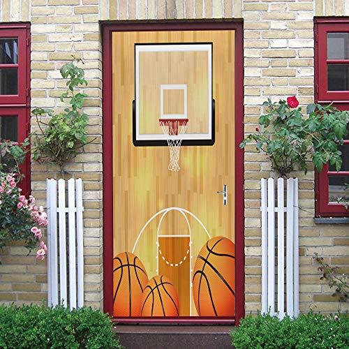 Murales Para Puertas Marco De Baloncesto Creativo Autoadhesivo A Prueba De Agua Papel Pintado Puerta Mural Pegatinas 95 X 215 cm
