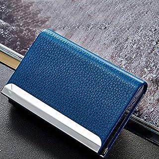 TT WARE Aluminum Alloy Metal Card Holder PU Leather Credit Card Case ID Card Storage Box-Blue