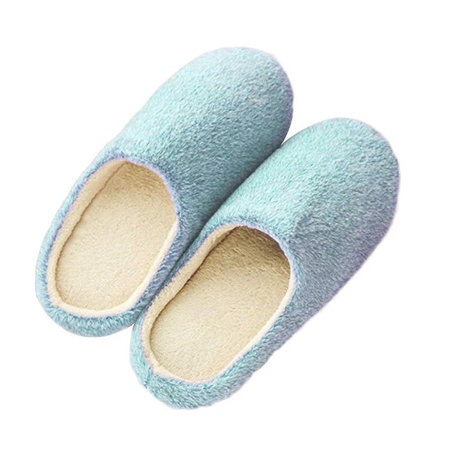 スケルトンビジター拡声器Tyou 1ペア冬暖かいスリッパぬいぐるみ滑り止めスリッパ靴女の子女性屋内使用のための再利用可能なハウスシューズ(40/41、青)