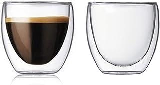 Lot de 2 tasses à expresso en verre isotherme à double paroi - 80 ml