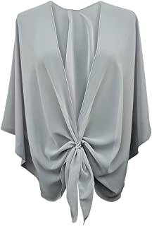 eXcaped Women s Evening Shawl Wrap Sheer Chiffon Open Front Cape and Silver  Scarf Ring ce21d2a73574