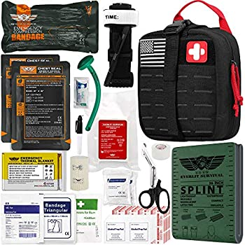EVERLIT Emergency Trauma Kit GEN-II Mil-Spec Nylon Laser Cut Pouch with Aluminum Tourniquet 36  Splint Military Combat Tactical IFAK for First Aid Response Bleeding Control  GEN-2 Black
