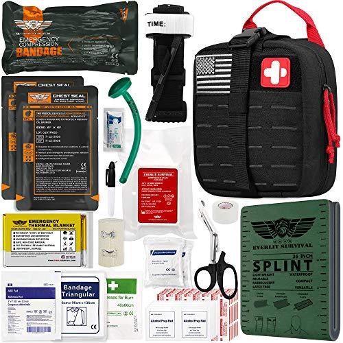 "EVERLIT Emergency Trauma Kit GEN-II Mil-Spec Nylon Laser Cut Pouch with Aluminum Tourniquet 36"" Splint, Military Combat Tactical IFAK for First Aid Response Bleeding Control (GEN-2 Black)"