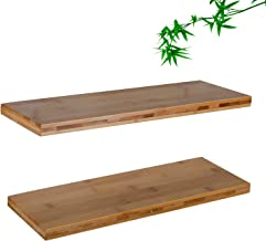 Floating Wooden Wall Shelves,Bamboo,Pack of 2,16 Inches, Waterproof,Shelf Wall Mounted Decorative for Living Room, Kitchen, Bathroom, Bedroom, Office, Home Decorative for Book,Plants (Bamboo Color)