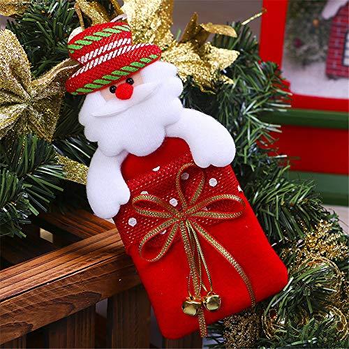 SONGHJ Campana Roja No Tejida Bolsa De Regalo para Niños Bolsa De Regalo De Almacenamiento con Colgante De Árbol De Navidad Decoraciones Navideñas