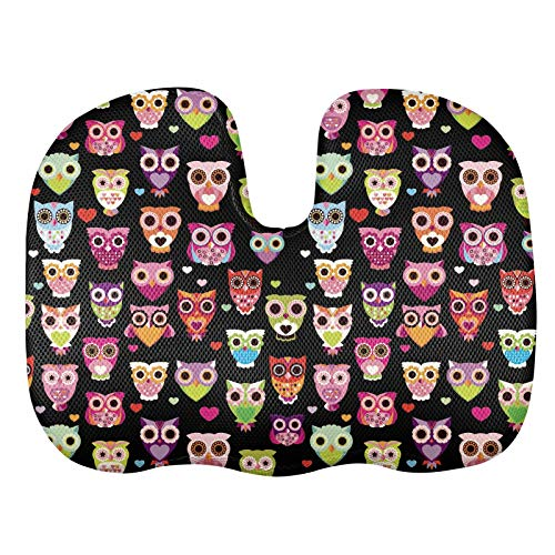 STUOARTE Coccyx Memory Foam Seat Cushion Orthopedic for Chair, Desk, Office, Colored Owl Pattern Cute Style Chairs Pillow for Sciatica and Tail Bone Pain Relief Gift Black