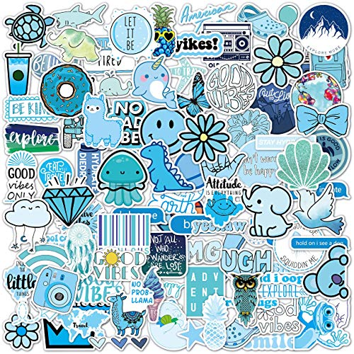 100 Blue VSCO Stickers, Aesthetic Stickers, Cute Stickers, Laptop Stickers, Vinyl stickers, Stickers for Water Bottles, Waterproof stickers for kids teen girls, Christmas teen girl gifts sticker packs
