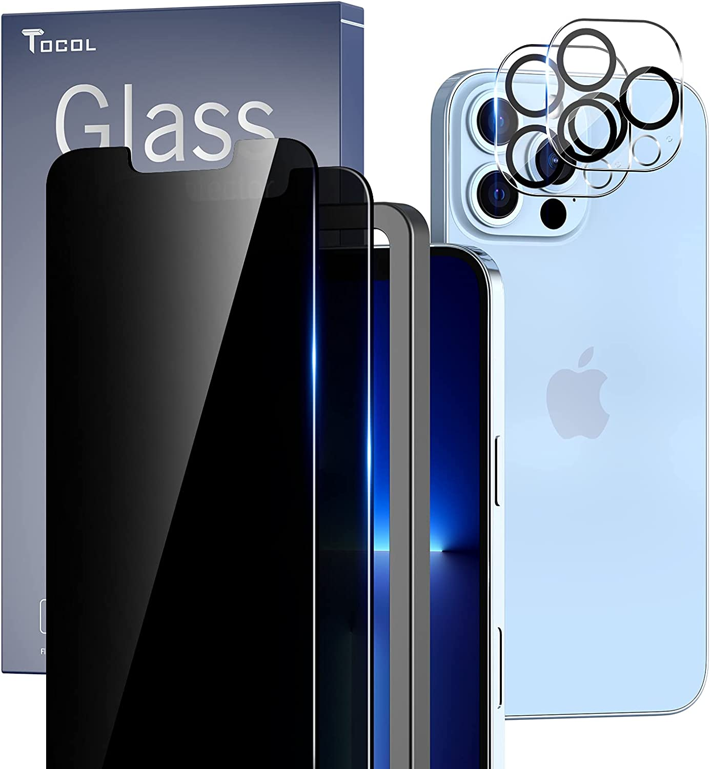TOCOL [2+2 Pack Compatible with iPhone 13 Pro 5G 6.1'' - 2 Pack Privacy Tempered Glass Screen Protector and 2 Pack Camera Lens Protector, Bubble Free, Case Friendly, Installation Frame, [Anti-Spy]