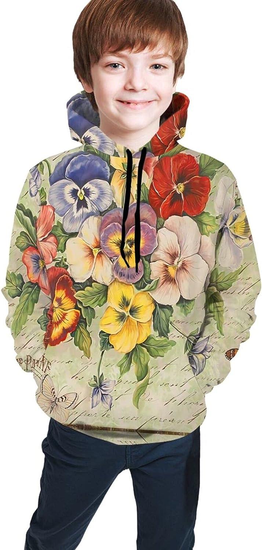 AMNIVASD Pansies and Butterflies Hoodie with Pockets Max 65% OFF Ranking TOP4 Kid Sweatsh