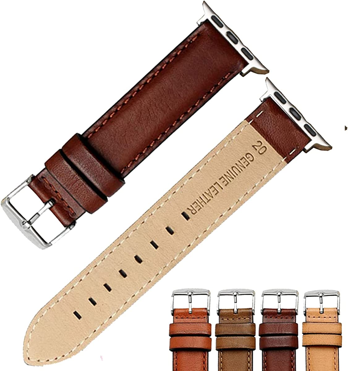 Strapseeker Ash Premium Italian Leather Watch Band for Apple Watch- Genuine Top Grain Calf Leather Watchband- Replacement Watch Bands for Men & Women- Compatible with Apple Watch Series SE, 6, 5, 4 3, 2, 1- 38mm, 42mm- Choose Colours